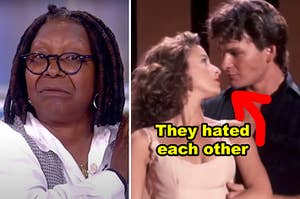 """Side-by-side of Whoopi on """"The View"""" and Patrick Swayze/Jennifer Grey in """"Dirty Dancing"""""""