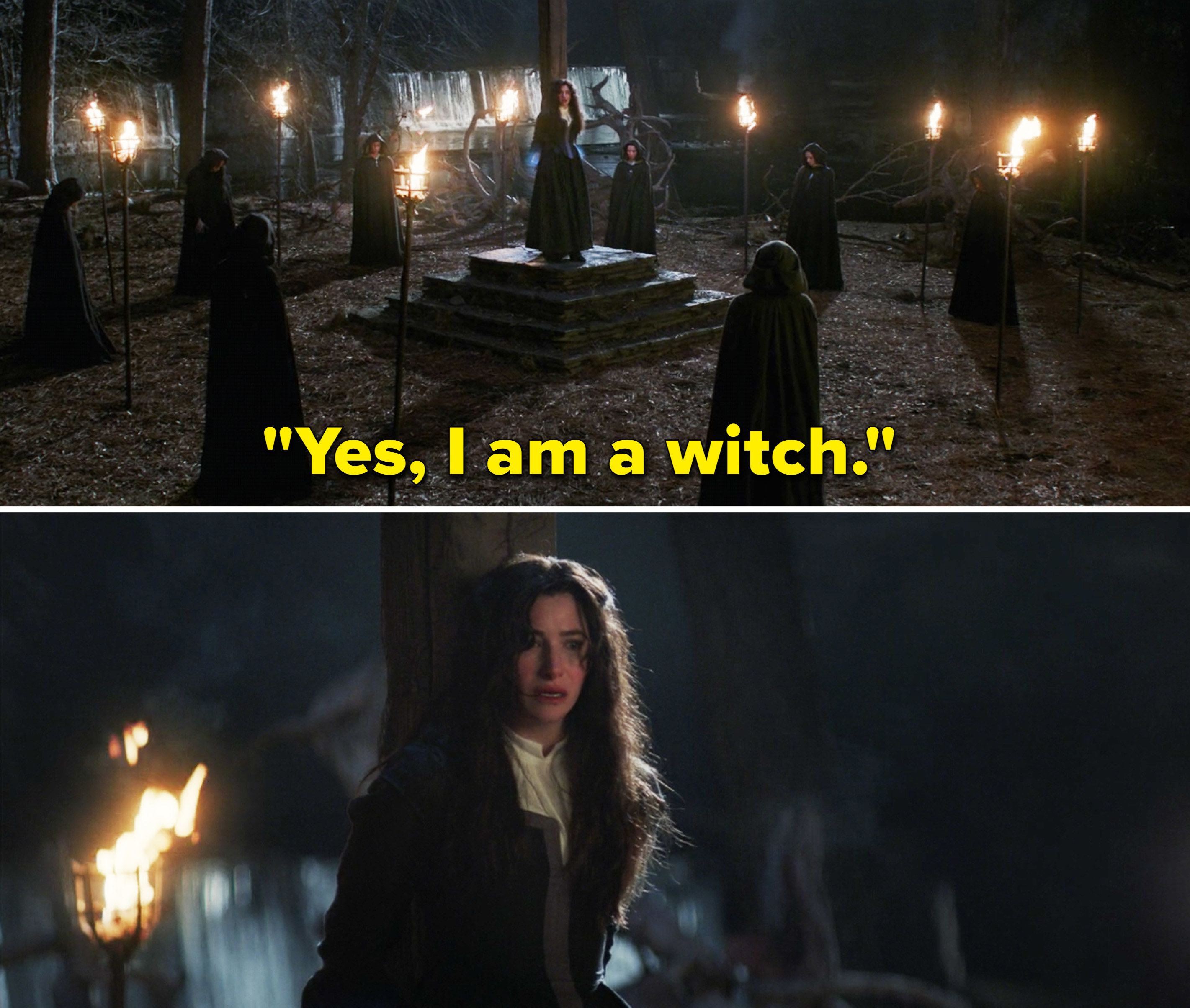 "Agatha saying, ""Yes, I am a witch"" while tied to a post"