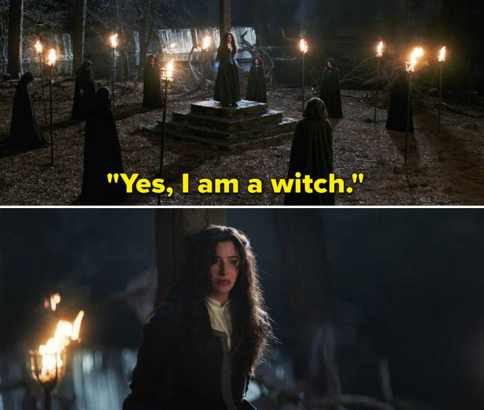 """Agatha saying, """"Yes, I am a witch"""" while tied to a post"""