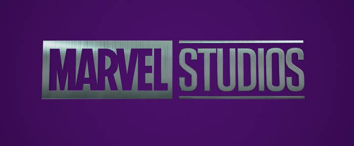 The Marvel Studios silver logo with a purple background