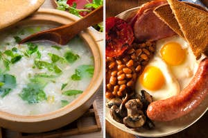 Congee and traditional English breakfast