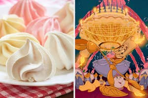 Side-by-side images of meringue cookies and Lumiere performing