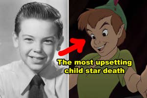 Side-by-side of Bobby Driscoll and the original Peter Pan cartoon
