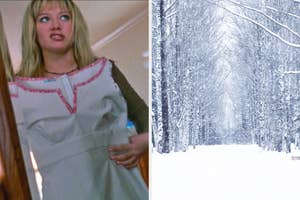 On the left, Hilary Duff holding a dress up to her body and grimacing as Lizzie in