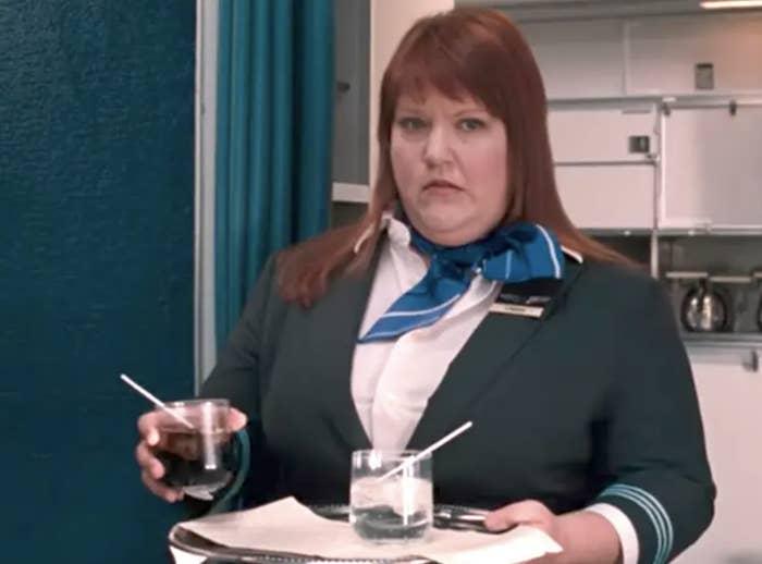 "A flight attendant in ""Bridesmaids"""