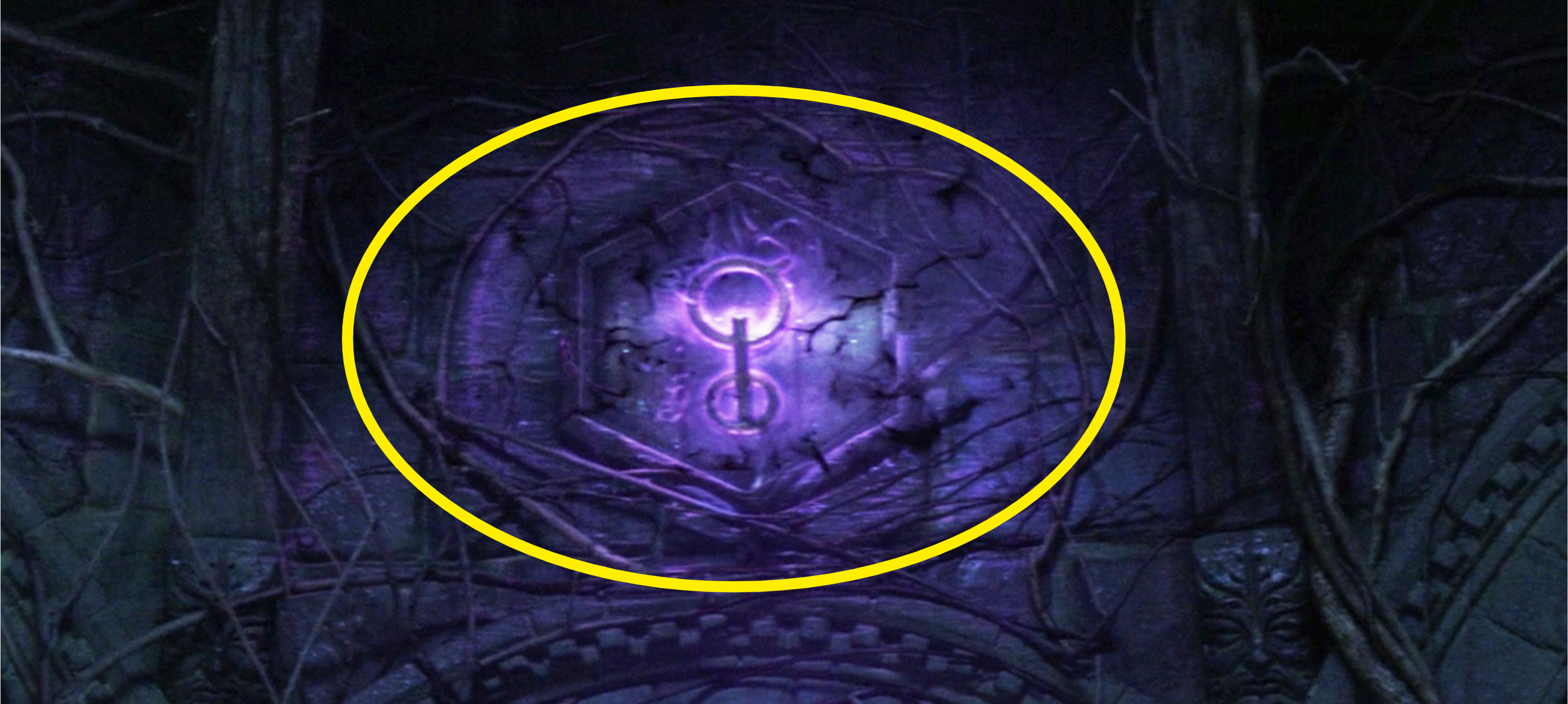 A purple rune inside a hexagon on the wall