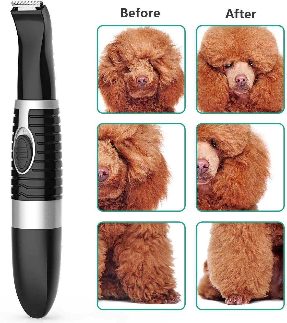 Dog trimmer next to before-and-after photos of trimmed fur