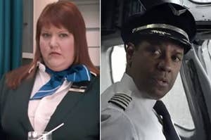 """Side-by-side of a flight attendant in """"Bridesmaids"""" and Denzel Washington as a pilot in """"Flight"""""""