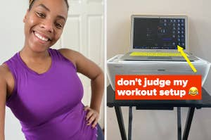 A woman prepares for a virtual workout class.