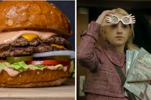 """A hamburger with vegetables and Evanna Lynch as Luna Lovegood in the movie """"Harry Potter and the Half-Blood Prince."""""""