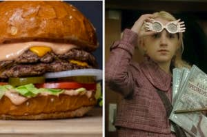 A hamburger with vegetables and Evanna Lynch as Luna Lovegood in the movie