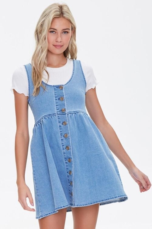 short pinafore with buttons all the way down