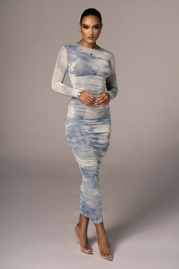white and blue long dress with long sleeves
