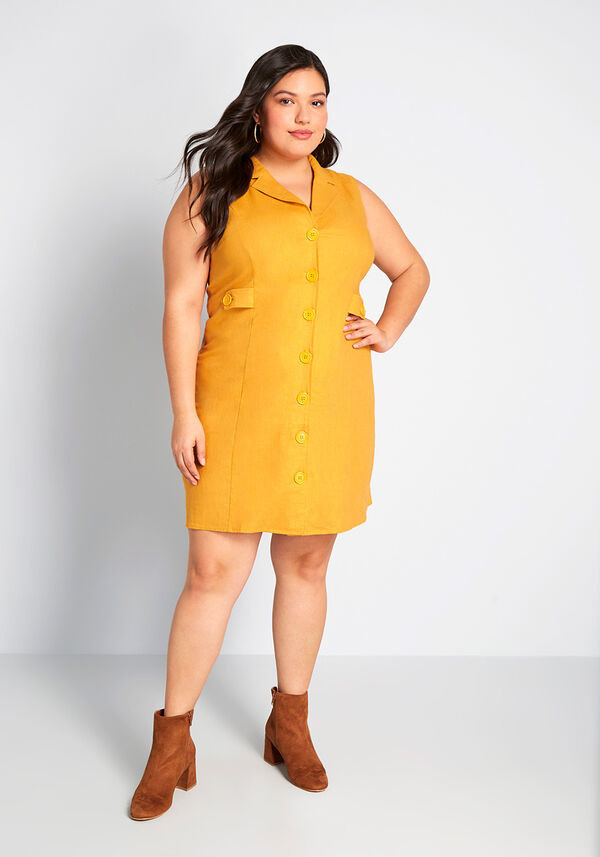 mustard dress with big lapel and buttons