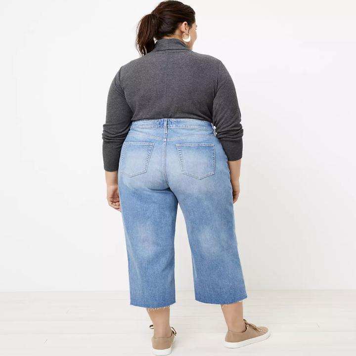 model showing backside of wide leg jeans