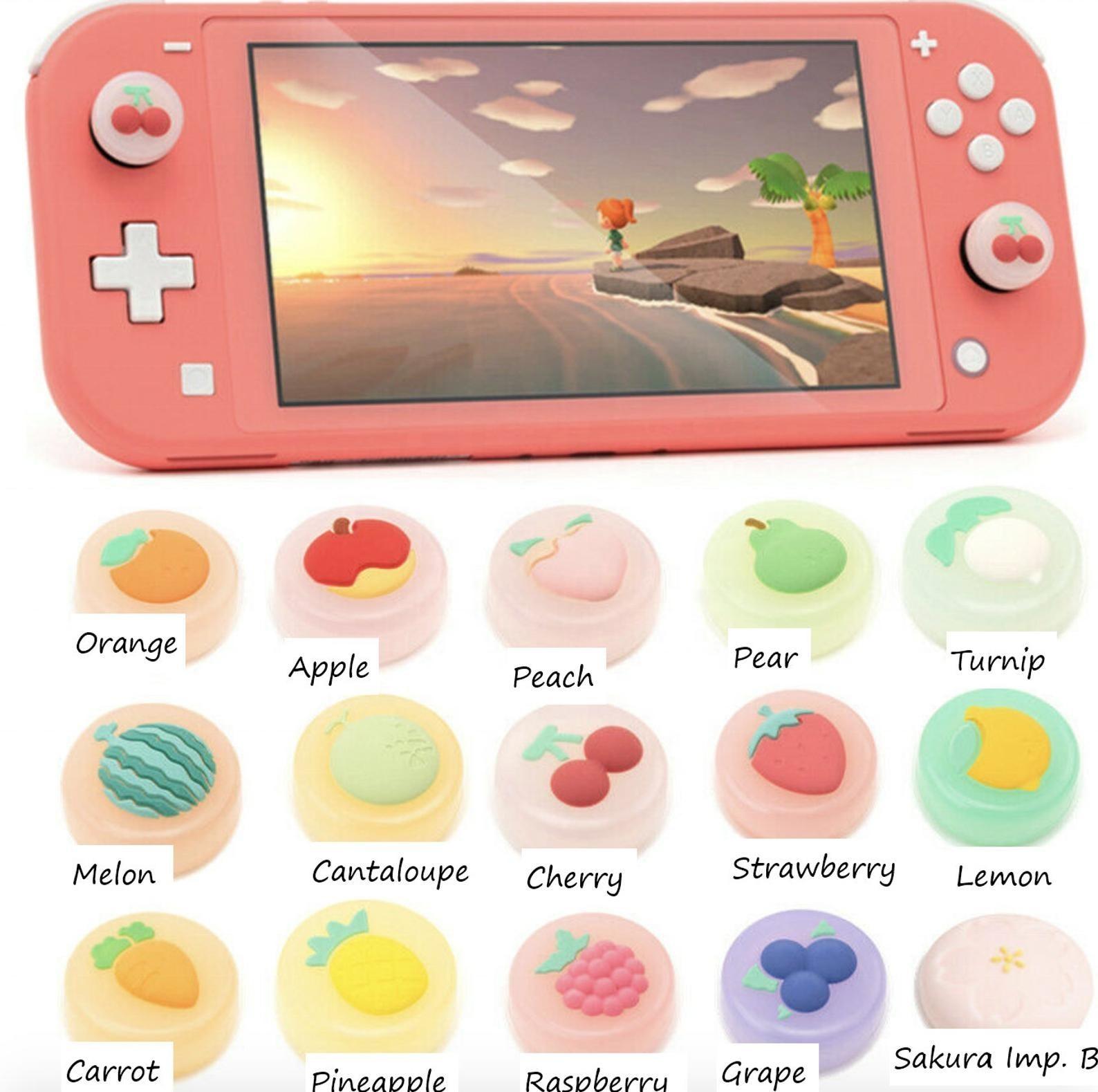 Nintendo Switch Lite with 15 various joystick caps underneath