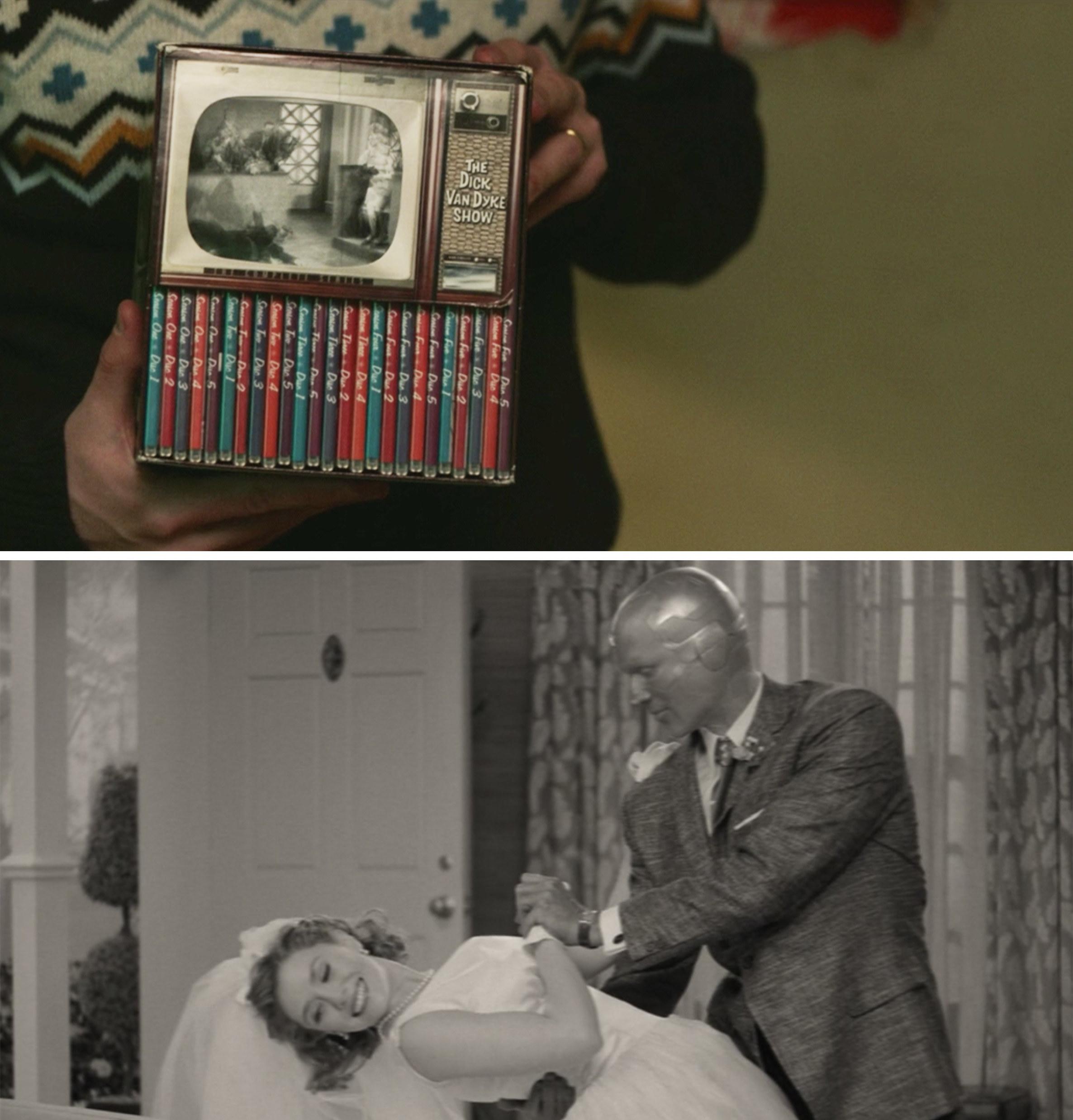 Wanda's dad holding Dick Van Dyke DVDs and Wanda and Vision dancing in Episode 1