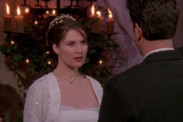 Emily looking shocked at Ross on their wedding day