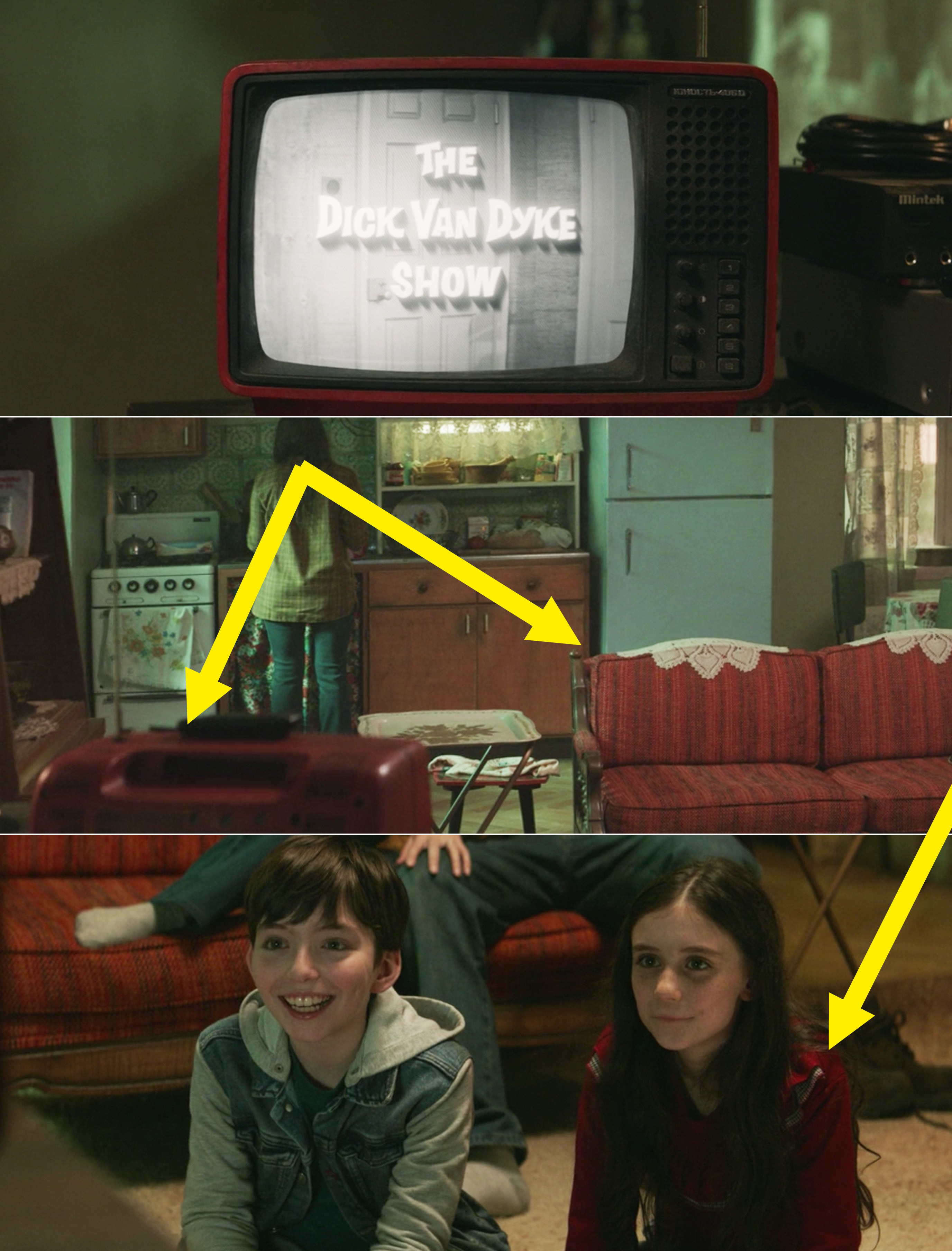 Arrows pointing to the back of the TV, which is red, the couch, and Wanda's red hoodie