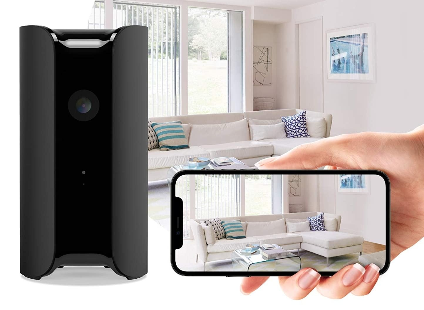 the security camera next to an iphone