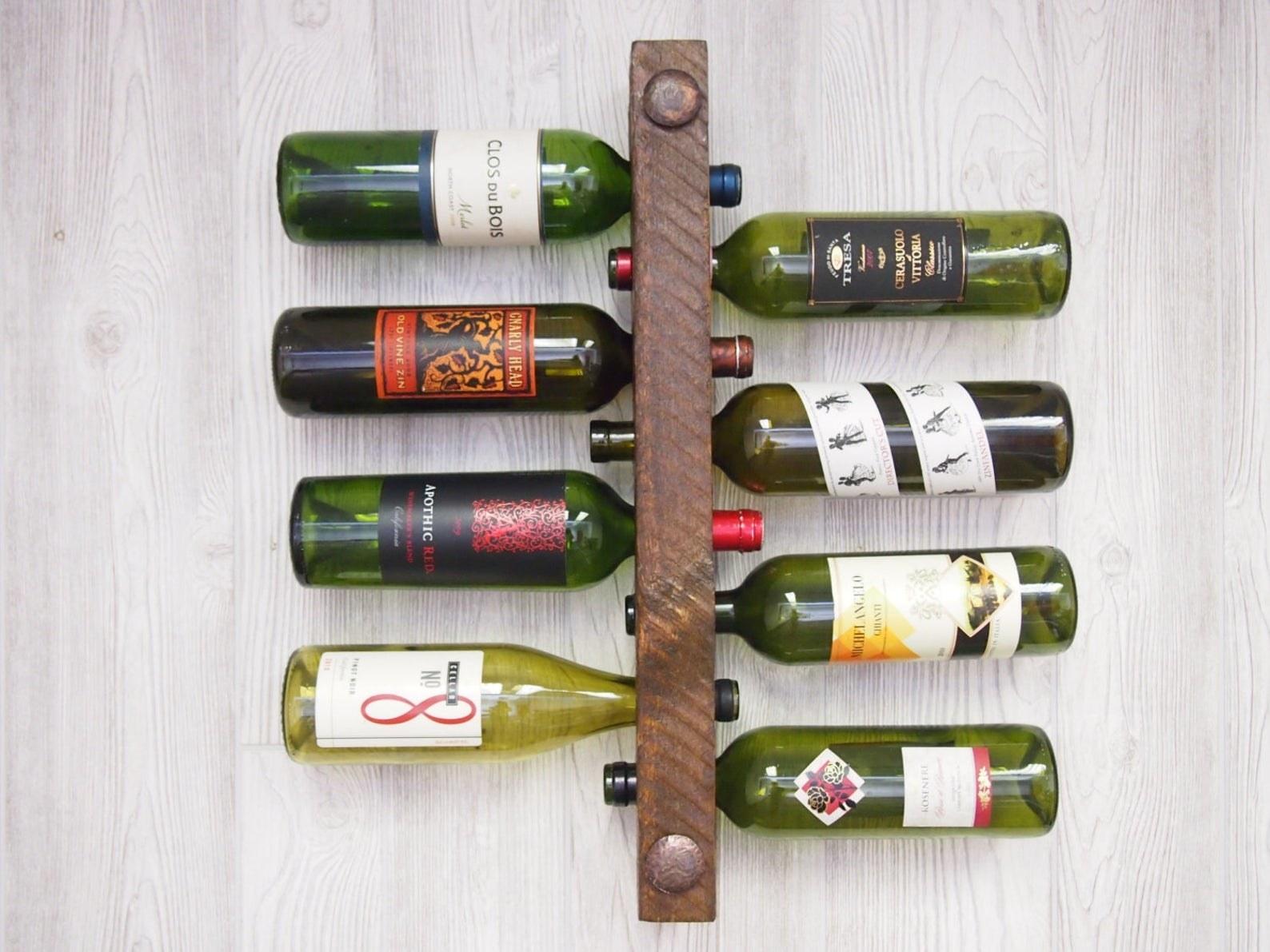 bottles hung in rack