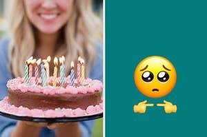 Someone serving birthday cake next to an innocent, big-eyed emoji