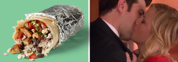 On the left, a Chipotle burrito, and on the right, Ben and Leslie from