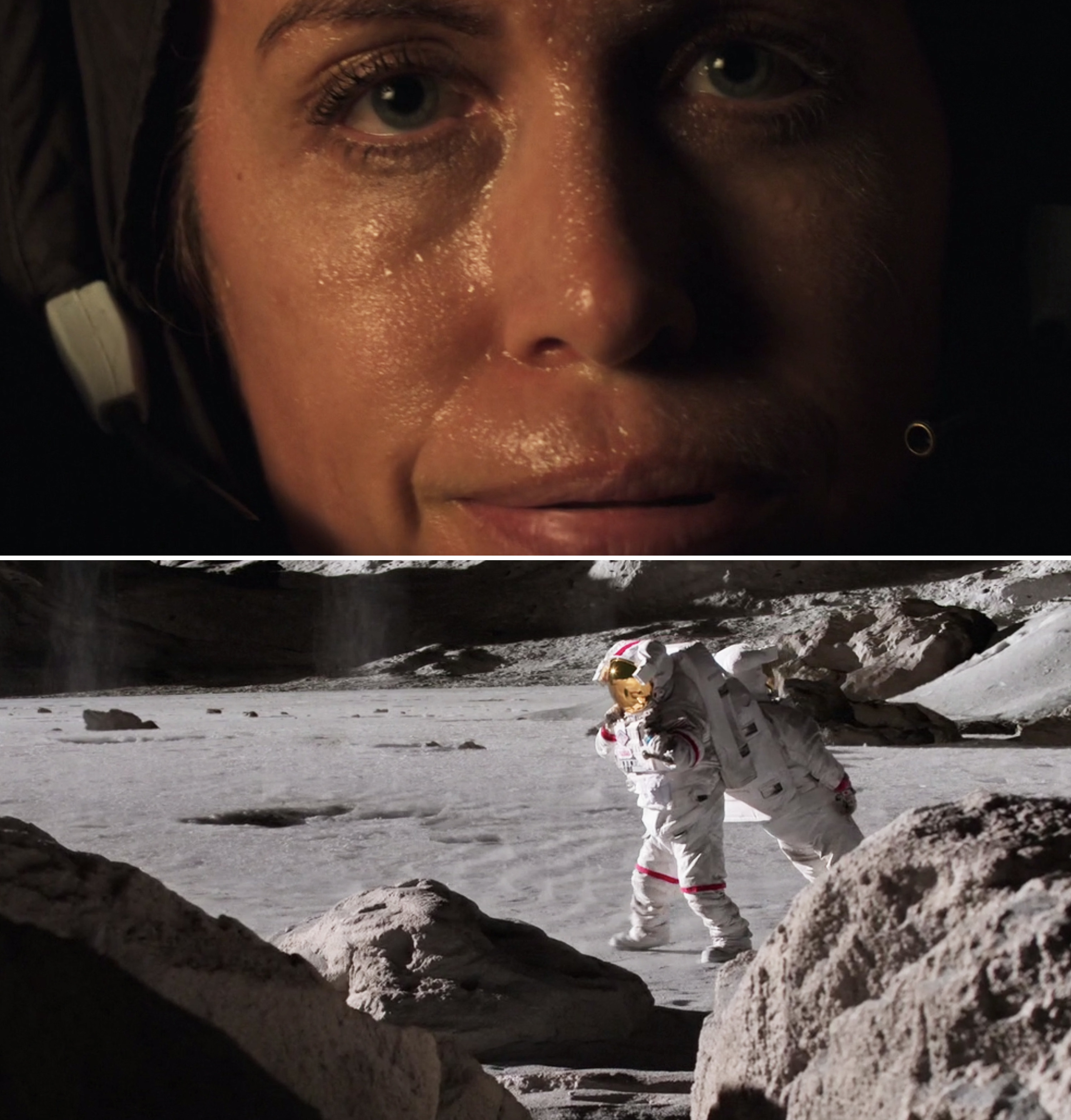 Molly sweating in her astronaut suit while carrying a fellow astronaut on her back on the moon