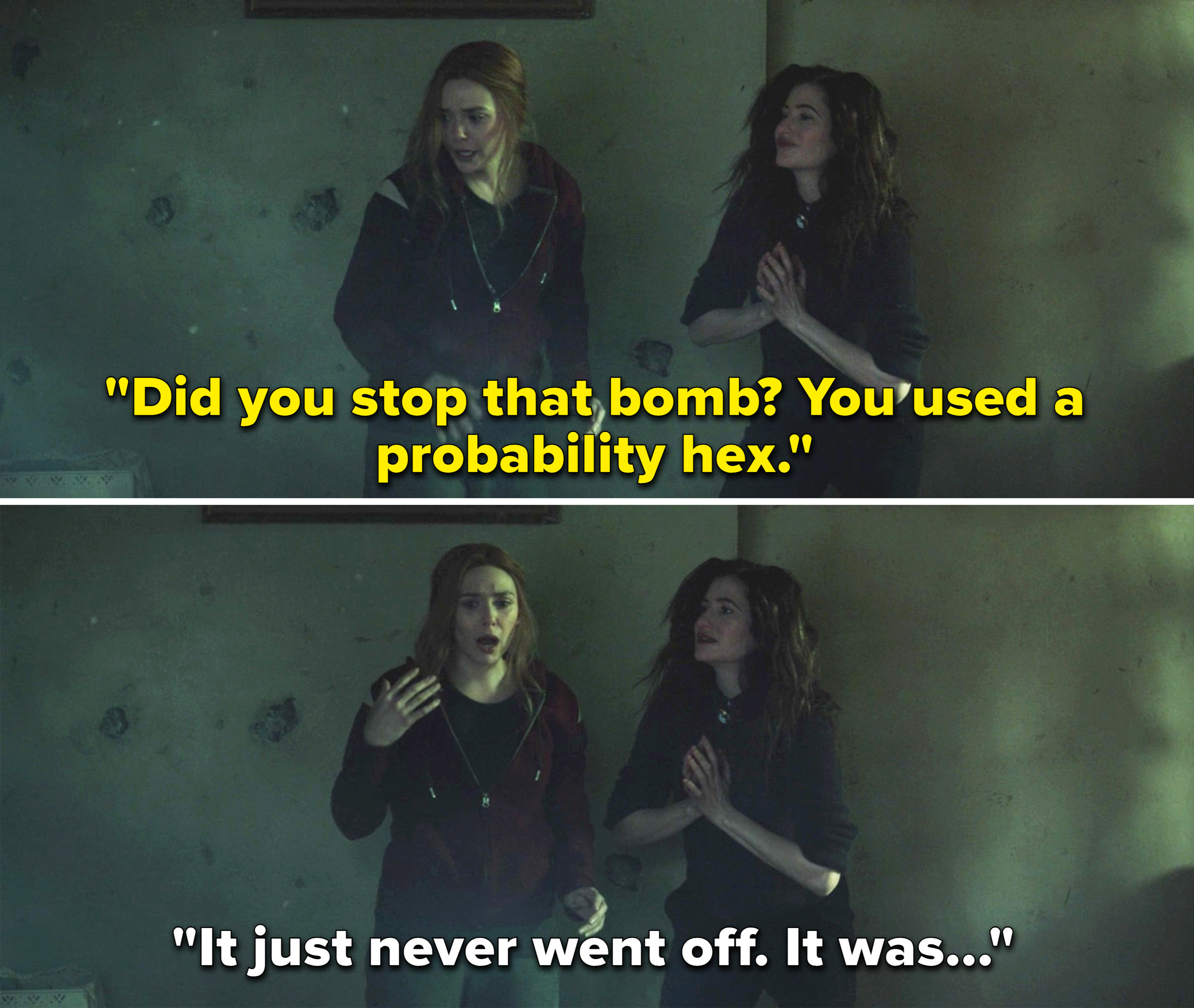 "Agatha saying, ""Did you stop that bomb? You used a probability hex"""