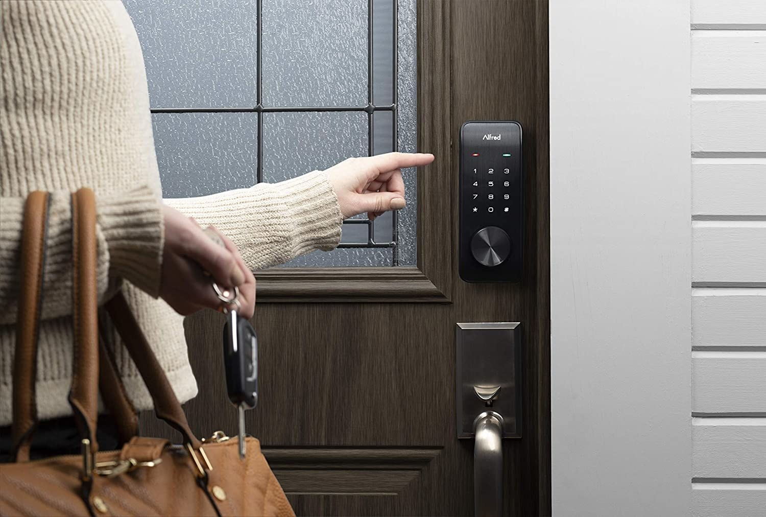 a model stepping up to the smart door lock touchpad