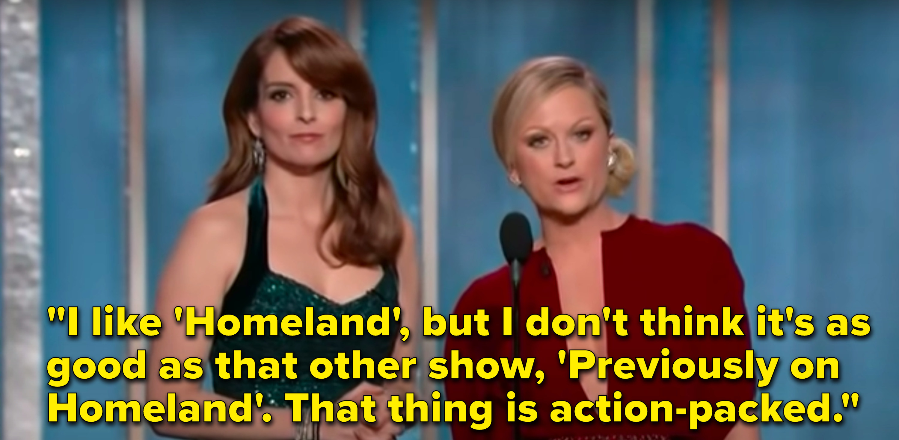 """Poehler says, """"I like 'Homeland', but I don't think it's as good as that other show, 'Previously on Homeland', that thing is action-packed"""""""