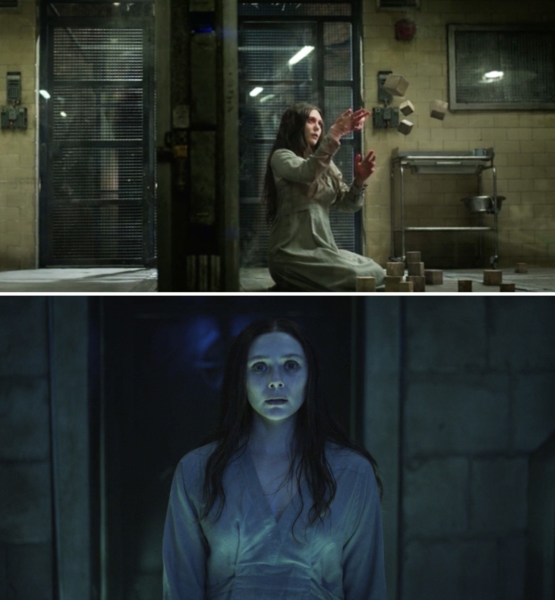 "Wanda in solitary in ""Captain America: The Winter Soldier"" vs. Wanda in the same outfit in ""WandaVision"""