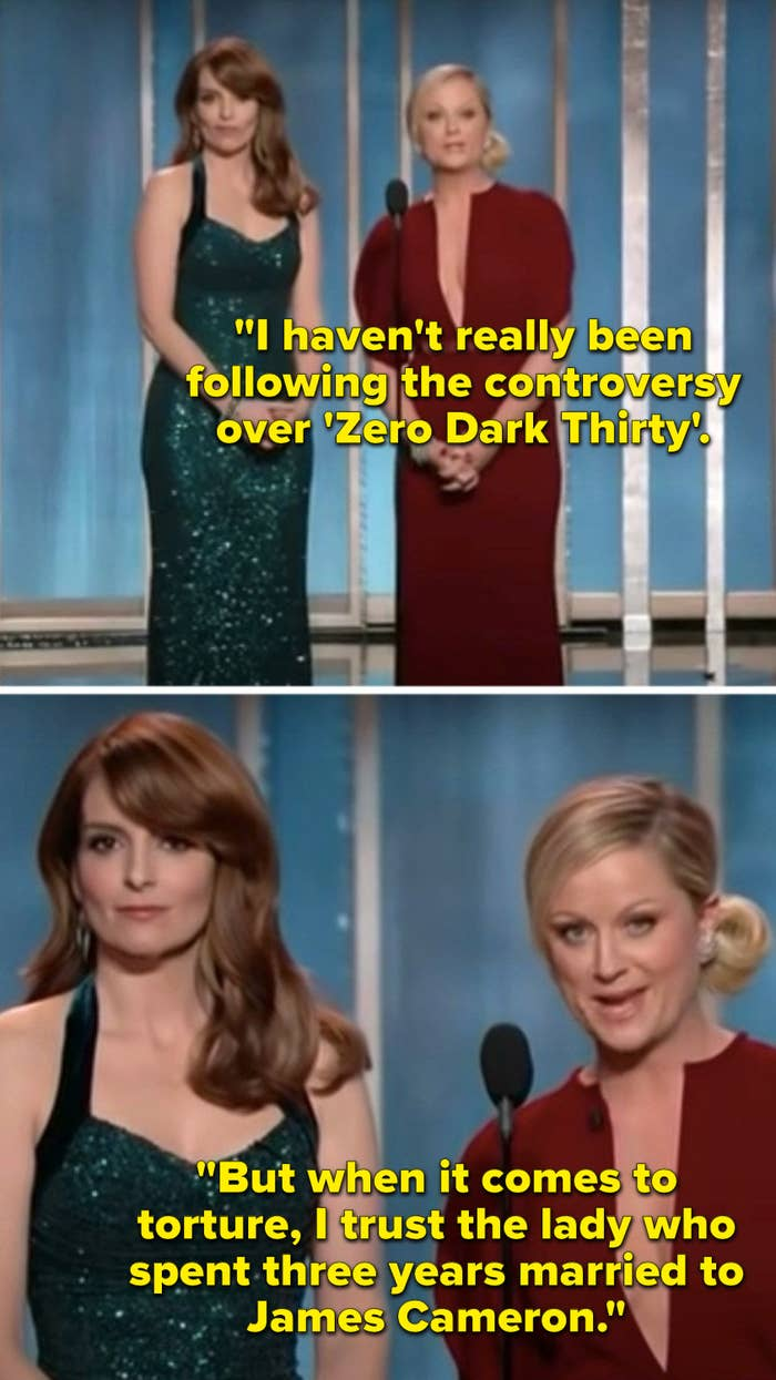 """Poehler says, """"I haven't really been following the controversy over 'Zero Dark Thirty', But when it comes to torture, I trust the lady who spent three years married to James Cameron"""""""