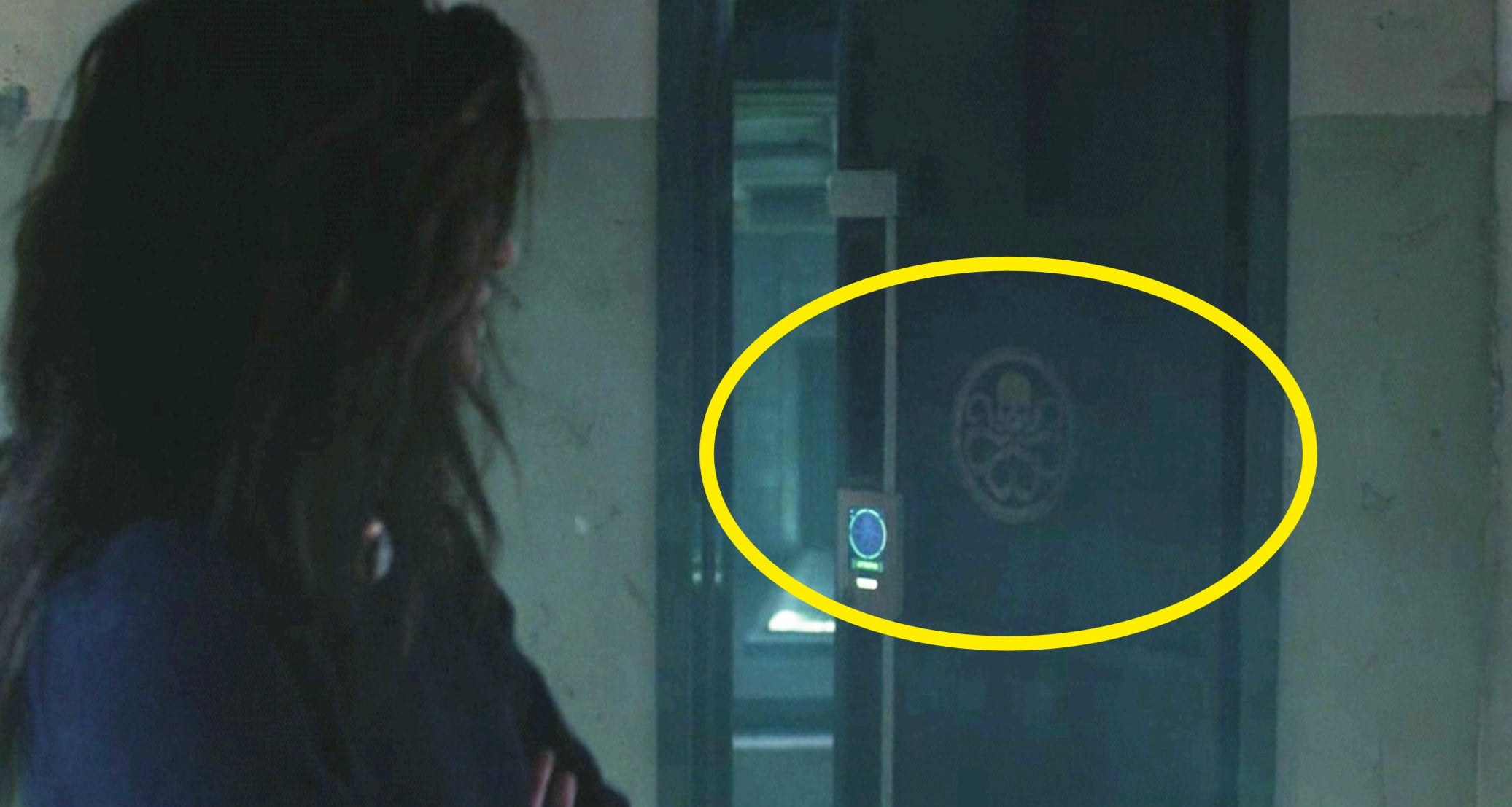 A circle around the HYDRA logo on a door