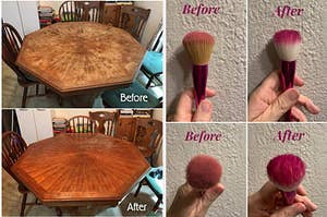 a before and after of a table and a before and after of makeup brushes