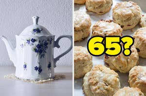 A floral teapot next to scones with
