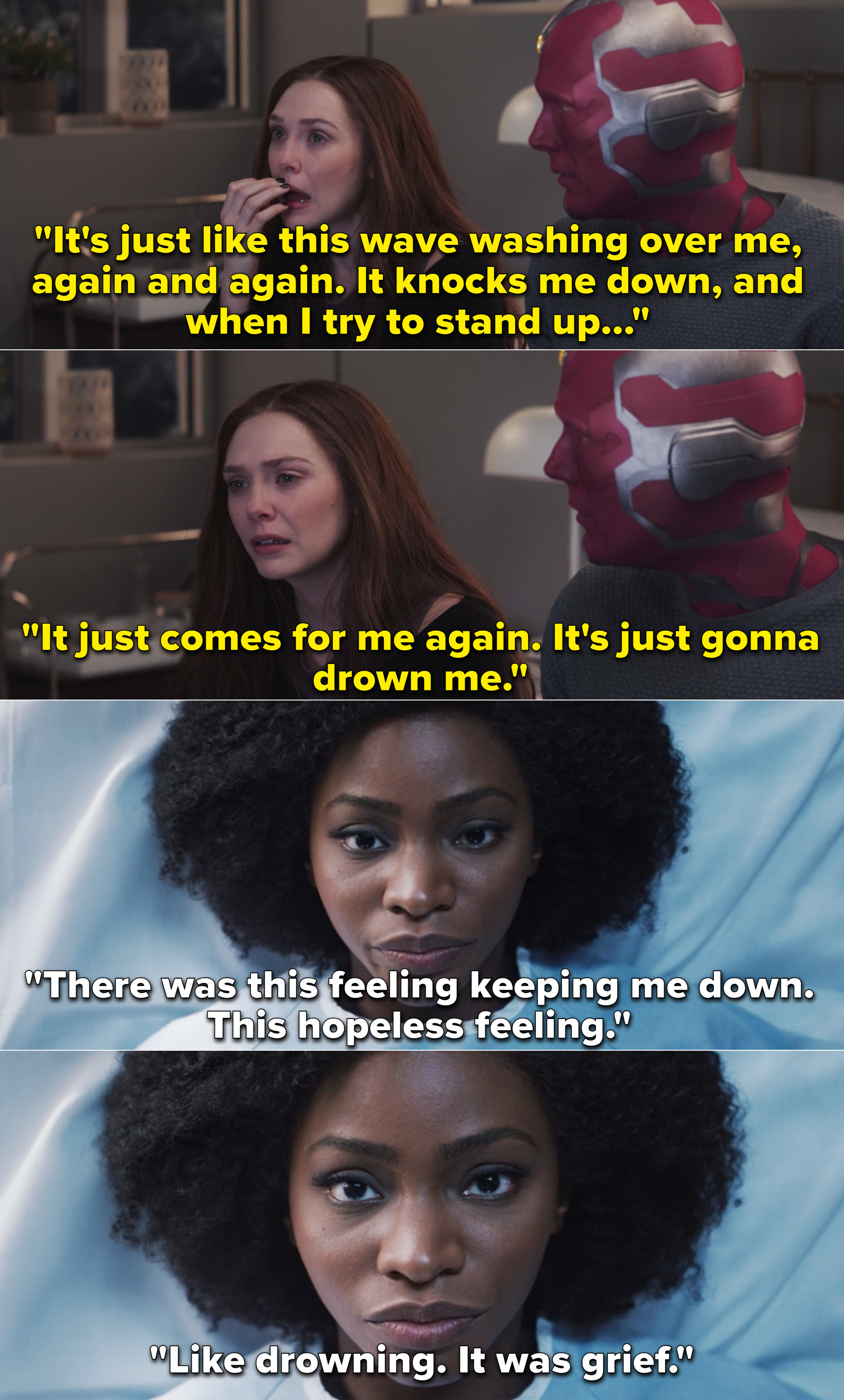 """Wanda explaining to Vision that she feels like her grief is going to drown her, and then Monica saying it felt like she was """"drowning"""""""
