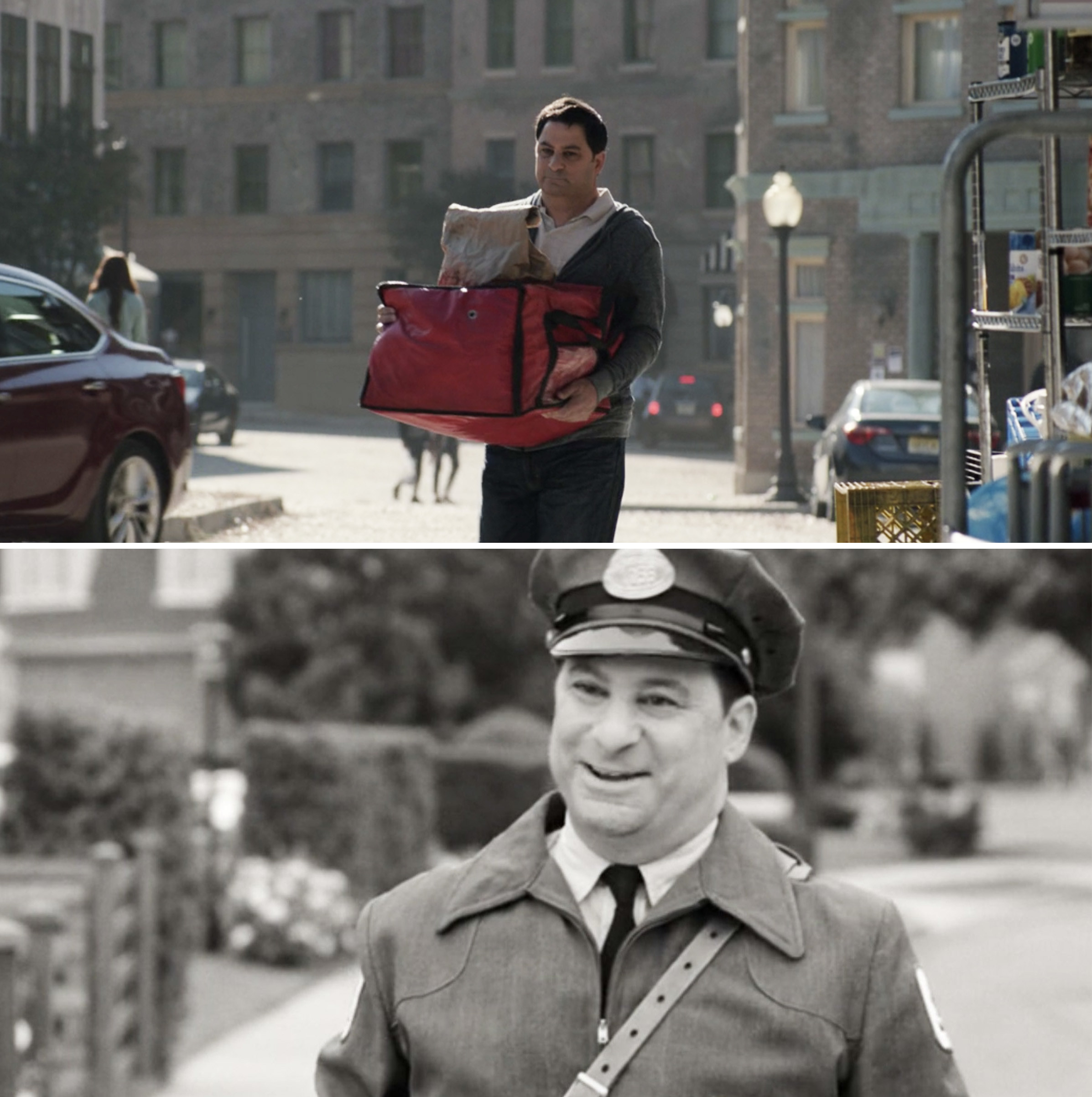 A delivery guy carrying pizza vs. the same guy as a mailman in Episode 1