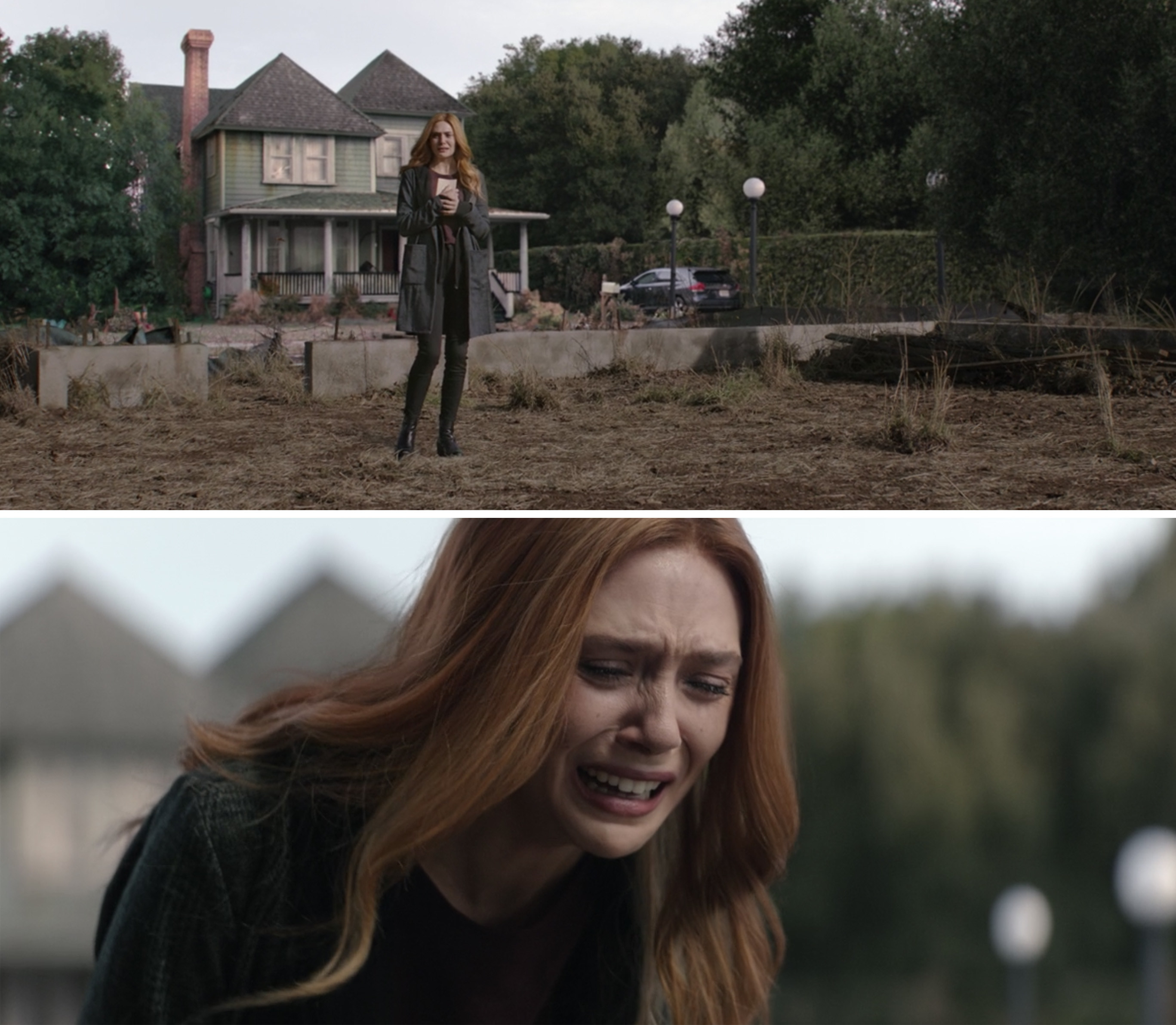 Wanda weeping and standing on the lot where she and Vision's house would be