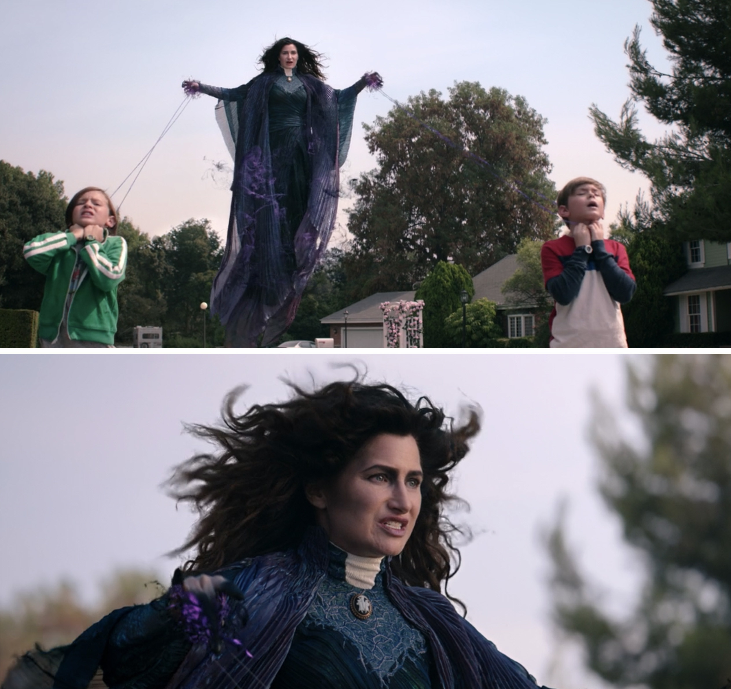 Agatha in a blue dress and purple magic radiating off of her while she uses a rope to hold Tommy and Billy in place