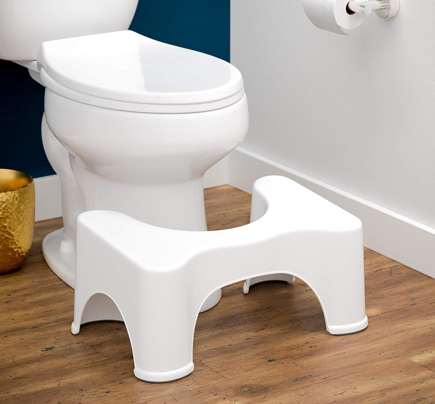 the squatty potty at the foot of a toilet