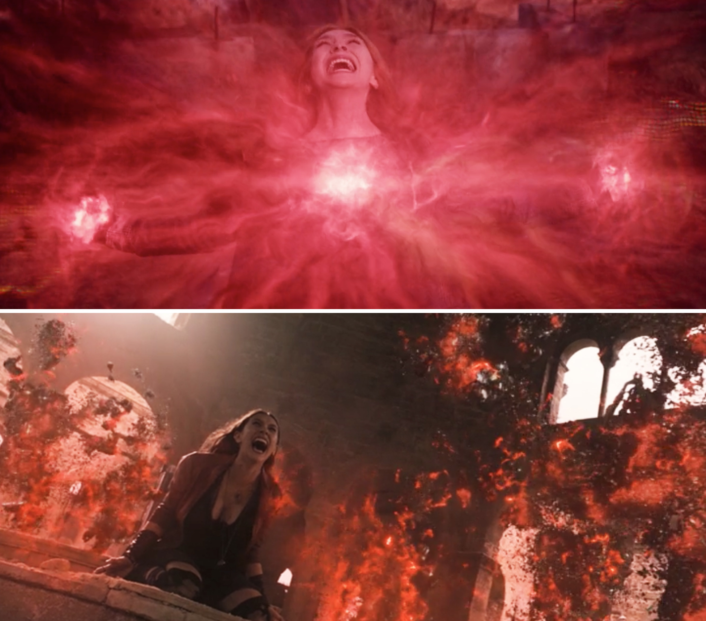 Red magic coming out of Wanda's chest vs. red magic killing Ultron's minions