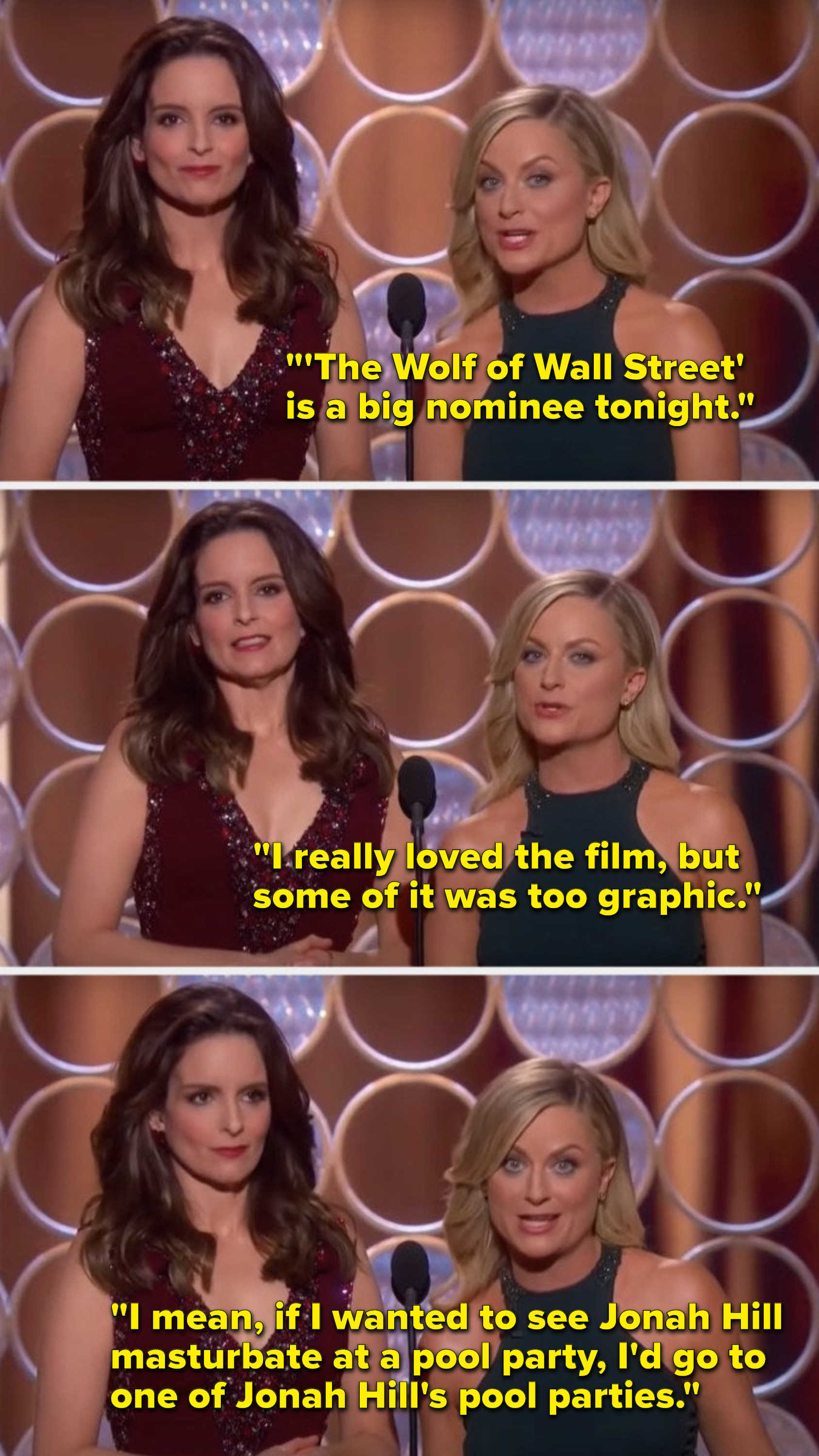 """Poehler says, """"'The Wolf of Wall Street is a big nominee tonight, I really loved the film, but some of it was too graphic, I mean, if I wanted to see Jonah Hill masturbate at a pool party, I'd go to one of Jonah Hill's pool parties"""""""