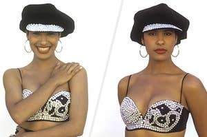 split image of selena photographed in 1992, on the left she is smiling while on the right she appears more direct and focused
