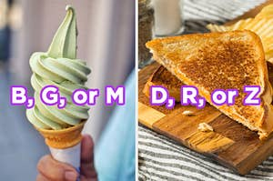 """On the left, a matcha ice cream cone labeled """"B, G, or M,"""" and on the right, a grilled cheese cut into triangles labeled """"D, R, or Z"""""""