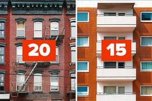 """Apartment buildings labeled """"20"""" and """"15"""""""