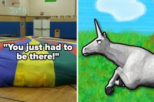 """""""you just had to be there"""" over a parachute for gym class, next to charlie the unicorn"""