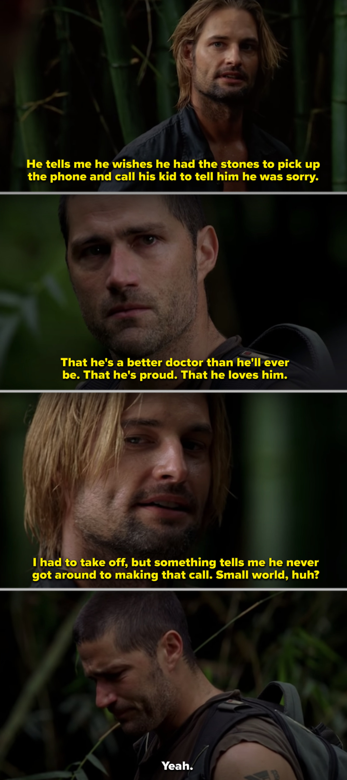 Sawyer talking to Jack in the woods