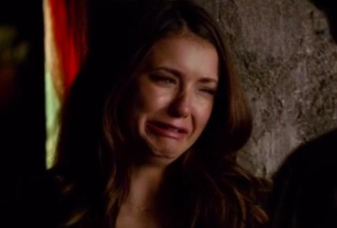 Elena crying as Damon leaves