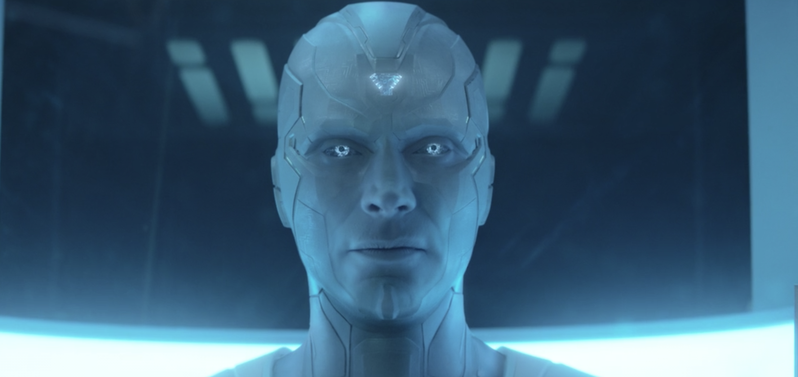 A close-up of White Vision's head